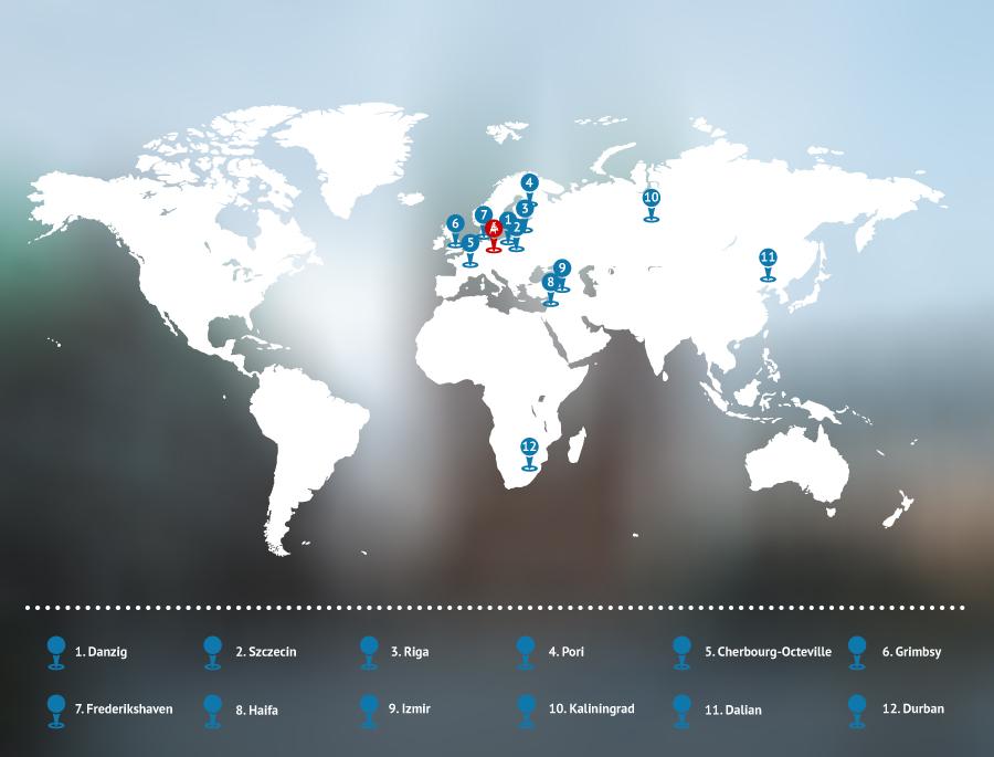 Karte mit eingezeichneten Städtepartnerschaften
