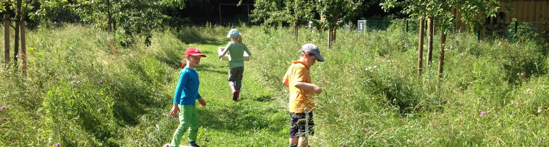 Spielende Kinder im ApfelKULTURparadies.