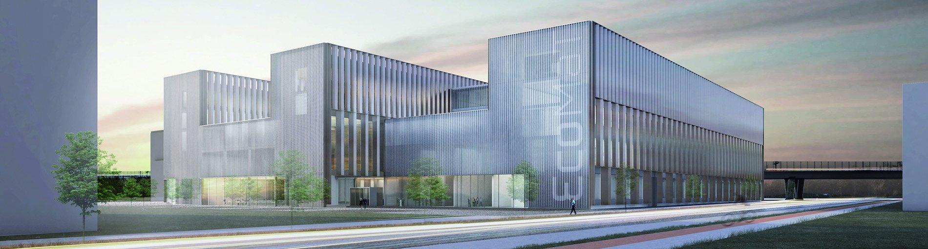 Eine Visualisierung des geplanten neuen Forschungs- und Entwicklungszentrums EcoMaT auf dem Gelände des Flughafen. (Quelle: Huber Staudt Architekten BDA)