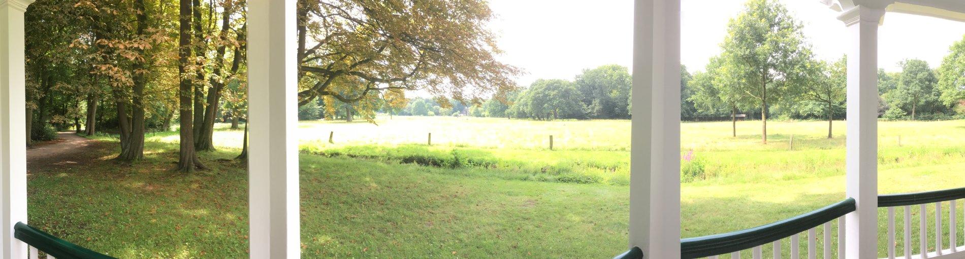 Ausblick auf eine grüne Wiese durch weiße Pfeiler und über einen weißen Zaun.