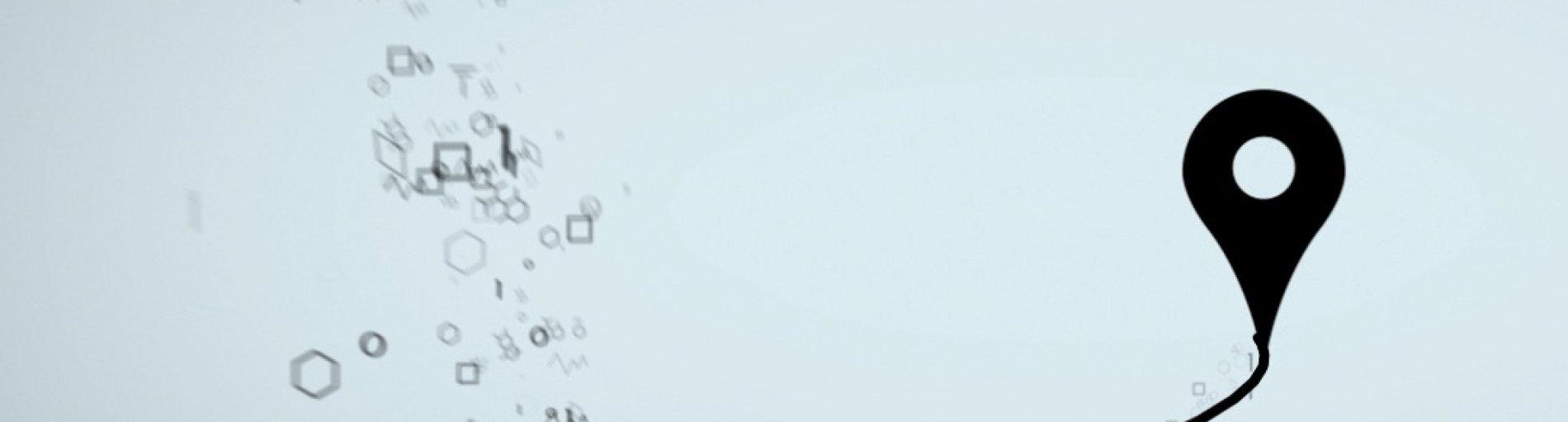 Ein Standortsymbol auf grauen Hintergrund.