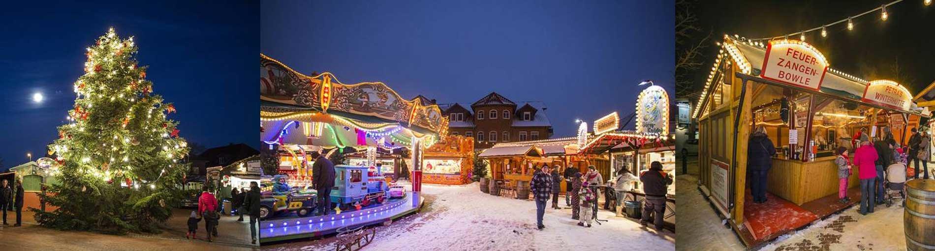 Collage vom Weihnachtsmarkt in Weyhe: Karussel, Weihnachtsbaum und Bratwurt- Stand