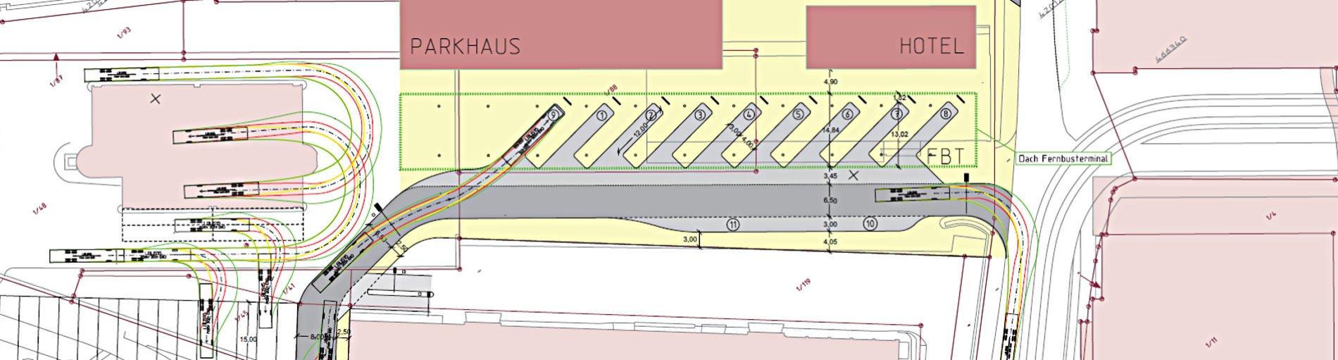 Eine Visualisierung zeigt das geplante Fernbusterminal
