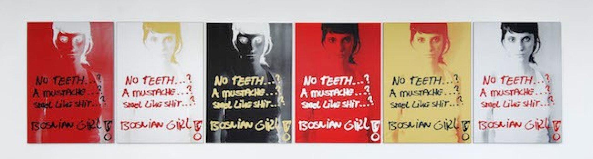 Plakat von einer Frau in verschiedenen Farben mit einem Spruch versehen.