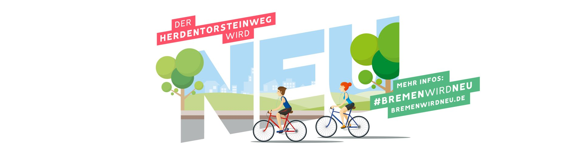 Ein Motiv auf grüner Wiese weist auf die Kampagne Bremen wird neu hin