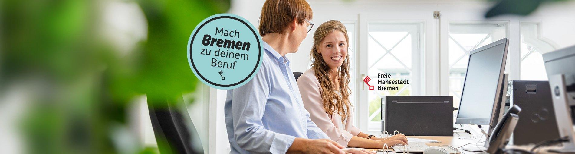 Ein Werbebanner für die Jobkampagne der Senatorin für Finanzen - mach Bremen zu Deinem Beruf!