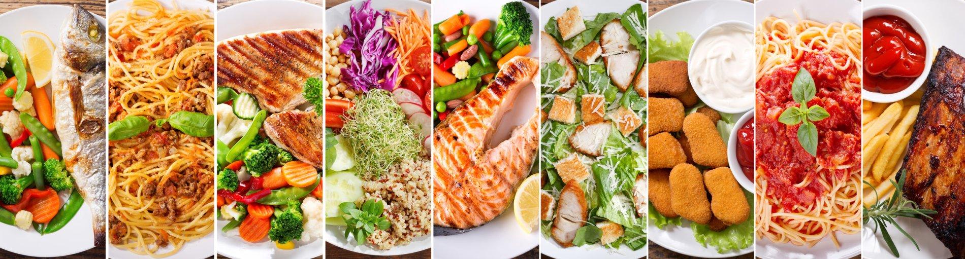 Viele verschiedene Teller mit Gerichten sind in einer Fotostory nebeneinander arrangiert. Auf den Tellern befinden sich Gerichte wie gebratener Lachs, Steak, Pommes, Pasta oder Chicken Nuggets.