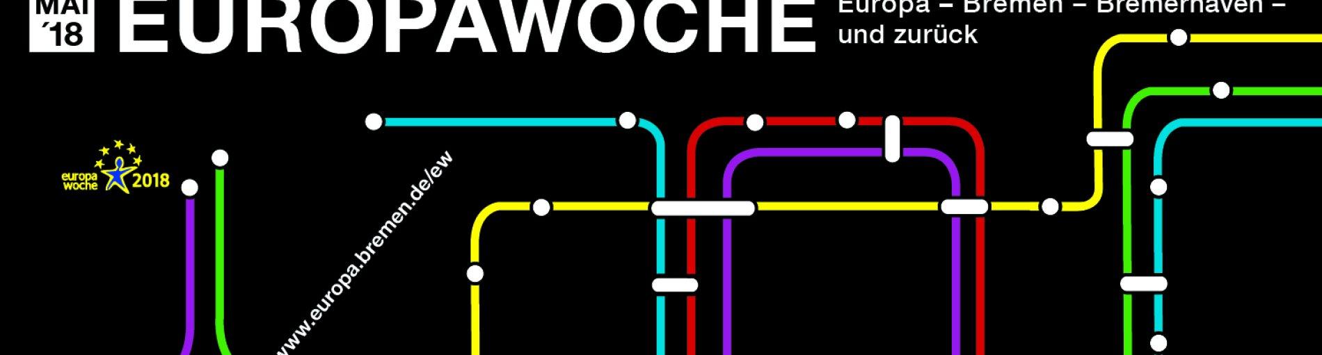 Ein stilisierter Linienfahrplan zeigt eine Rundfahrt von Bremen nach Europa und zurück