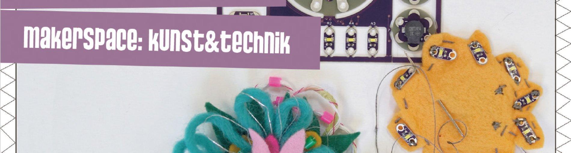 Postkarte mit der Aufschrift: mädchen_atelier / makerspace: kunst & technik