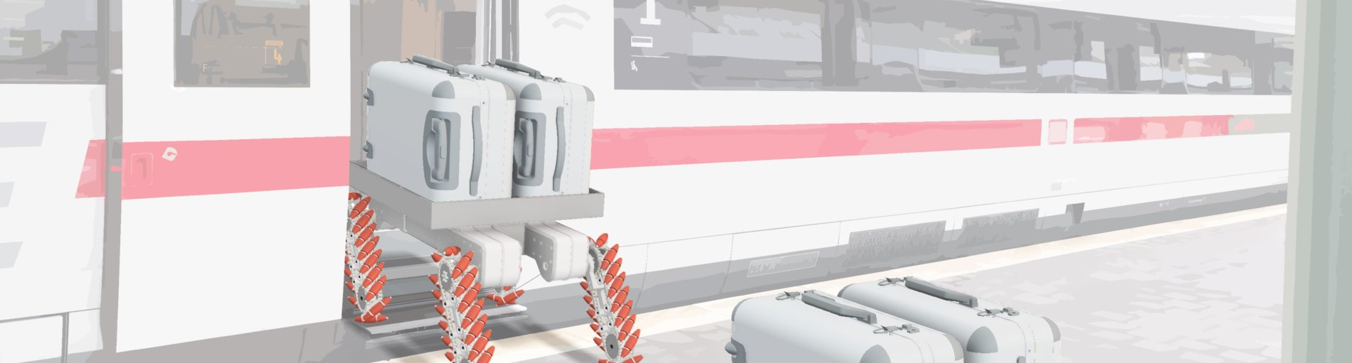 Eine Grafik stellt dar, wie ein Roboter zwei Koffer in einen ICE transportiert.