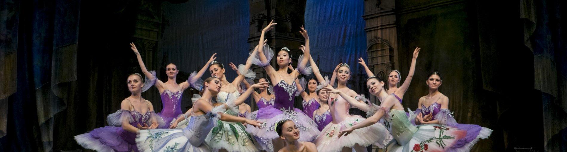 Die Tänzerinnen posen auf der Bühne im Balletoutfit.