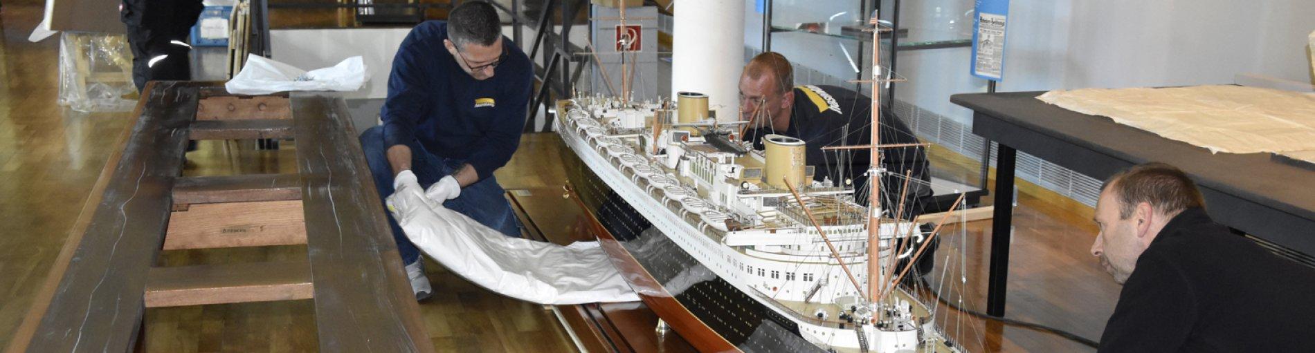 """Das Werftmodell """"Bremen"""" im Focke-Museum Bremen."""