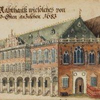 Ein aufgeklapptes historisches Buch zeigt eine Abbildung des Bremer Roland; Quelle: Staatsarchiv Bremen/Peter Koster, Fortführung der Renner-Chronik, 1685