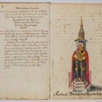 Ein aufgeschlagenes Buch mit einem Bild vom Roland und Text