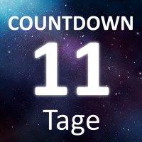 """Die Worte """"Countdown"""" und """"11 Tage"""" auf einem Sternenhimmel."""
