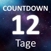 """Die Worte """"Countdown"""" und """"12 Tage"""" auf einem Sternenhimmel."""