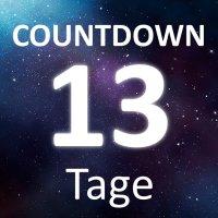 """Die Worte """"Countdown"""" und """"13 Tage"""" auf einem Sternenhimmel."""