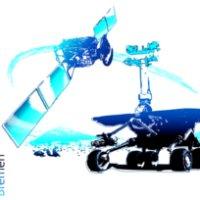 Eine Zeichnung: Ein blau gefärbter Satellit schwebt über einem blau-schwarzen Mars-Rover. Links an der Seite steht in blauer Schrift: DLR_School_Lab Bremen.