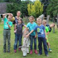 Eine Gruppe von Kindern, in deren Mitte ein Esel steht