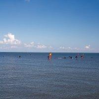 Blaues Wasser, auf dem Personen zu sehen sind, die wiederum auf Boards mit bunten Segeln stehen.