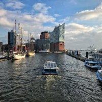 Blick über das Wasser auf die Elbphilharmonie