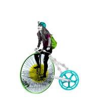 Zeichnung: Ein Mädchen sitzt auf einem Rad