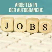 """Schriftzug: """"Arbeiten in der Autobranche"""". Vier Würfel mit den Buchstaben """"JOBS"""" liegen auf einer Computertastatur (Quelle: fotolia / Marco2811)"""