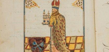 Eine Zeichnung aus einem alten Buch zeigt einen Geistlichen mit dem Modell einer Kirche in den Händen; Quelle: Chronika Bremensis - Renners Chronik/Staatsarchiv Bremen