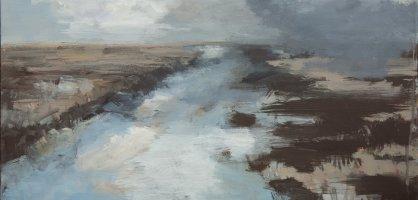 Birte Hölscher: Winterfluss, 2017, Acryl auf Leinwand