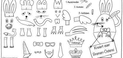 Eine gezeichnete Anleitung zum ausschneiden, mit Ohren, Pfoten und Gesichtern, damit man sie ausschneiden kann und auf ein Osterei kleben.