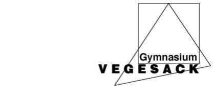 """Auf einem weißen Hintergrund steht in schwarzer Schrift unten rechts """"Gymnasium Vegesack"""". Hinter der Schrift befindet sich ein großes Dreieck sowie ein Rechteck."""