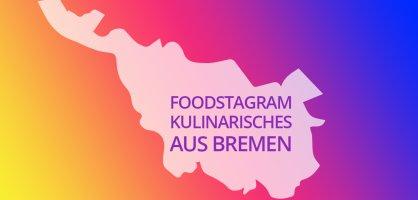 Bremen Umriss eingetaucht im bunten Instagram Farbschema