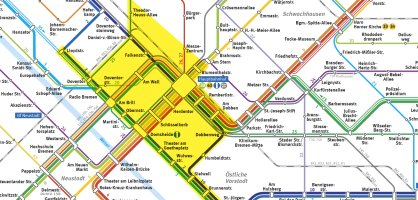 Ein Stadtplanauszug von Bremen auf dem gelbmarkiert der Geltungsbereich des ParkTiket Plus markiert ist.