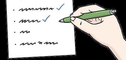Zeichnung von einem Blatt Papier und einer Hand, die einen Stift hält und eine Liste auf dem Papier abhakt.
