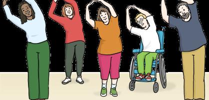 Zeichnung von Menschen, die Gymnastik machen.