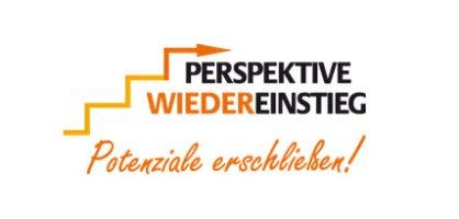 Logo mit Schriftzug: Perspektive Wiedereinstieg - Potenziale erschließen!