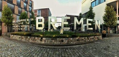 Schriftzug am Europahafen zeigt Willkommen in Bremen