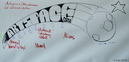 Auf einem weißen Blatt ist eine Skizze mit dem Schriftzug Artspace und Begriffen der Raumfahrt zu sehen.