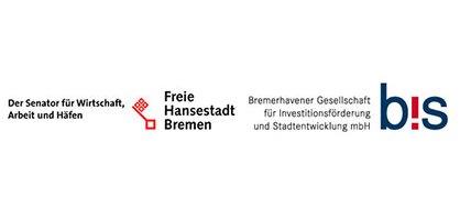 Logos vom Senator für Wirtschaft, Arbeit und Häfen und von der BIS Bremerhavener Gesellschaft für Investitionsförderung und Stadtentwicklung mbH
