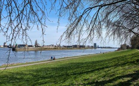Ein Weg führt am unteren Ende eines Deiches entlang. Daneben fließt die Weser.