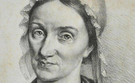 Eine Zeichnung zeigt Gesche Gottfried, die eine Haube trägt. Darunter stehen einige Informationen zu der Frau.