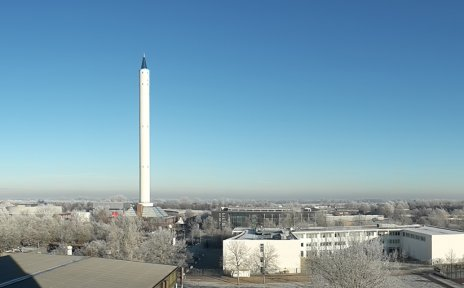 Der Fallturm im Technologie-Park Bremen im Winter