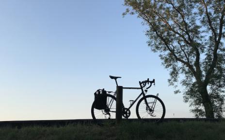 Ein Fahrrad steht auf einem Hügel neben einem Baum vor blauem Himmel