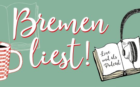 """Logo der Bremer Literaturnacht mit dem Schriftzug """"Bremen liest"""" mit Illustrationen von Büchern, Kopfhörern und einer Tasse Tee."""