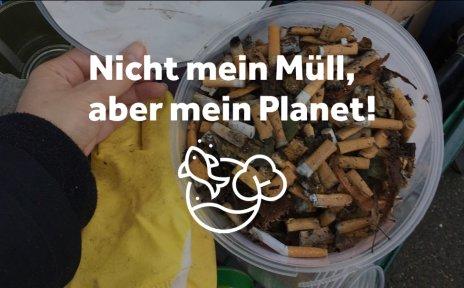 Zigarettenstummel werden in einem Eimer gesammelt