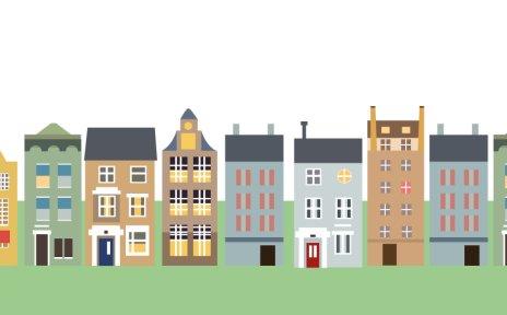 Grafische Häuserreihe die Bremen darstellt mit Mühle und Stadtmusikanten