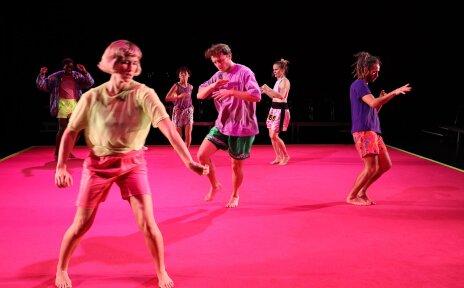 Tänzerinnen und Tänzer auf der Bühne.