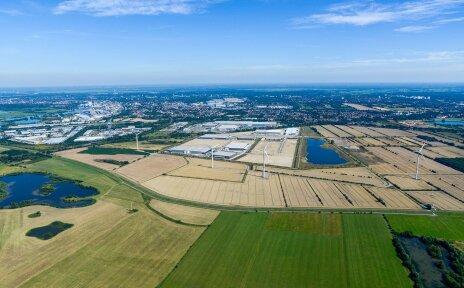 Luftaufnahme des Gewerbeparks Hansalinie.