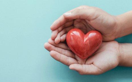 Zwei Hände halten ein kleines rotes Herz aus Stein.