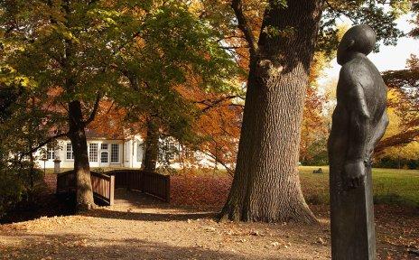 Riensbergpark im Herbst, im Hintergrund das Haus Riensberg.